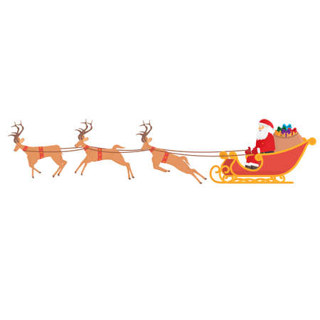 Christmas sleigh with reindeer. Santa Claus with gifts, vector illustration