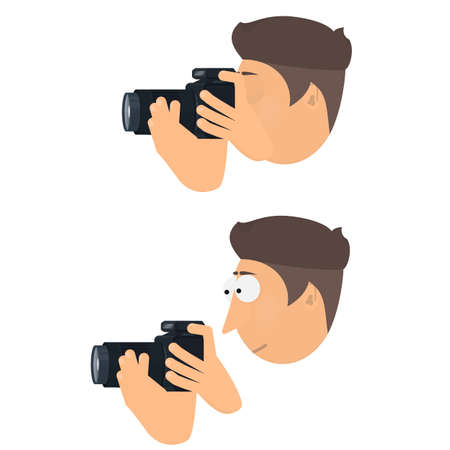 Photographer with a camera. Take photos, vector illustration 向量圖像