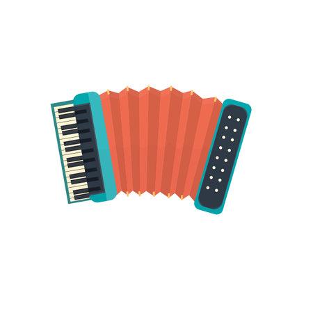 Accordion. Bayan musical instrument, vector illustration