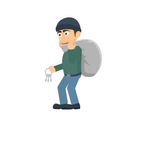 Thief. Robber with a bag and keys, vector illustration