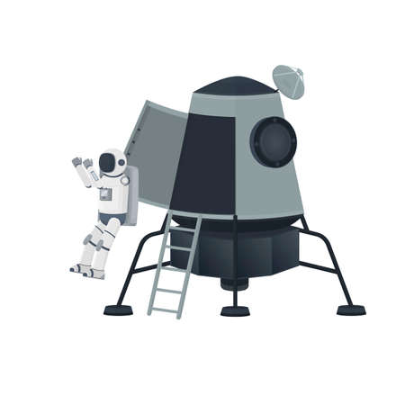 Spaceship with an astronaut. The landing of spacemen, vector illustration 向量圖像