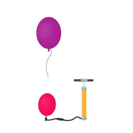 Inflating a balloon. Bicycle pump and balloon, vector illustration