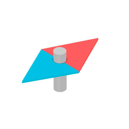 Arrow of the compass determines the direction, vector illustration