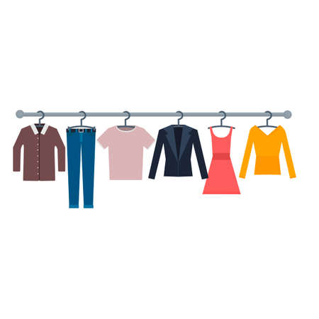 Wardrobe of clothes. A change of clothes, vector illustration