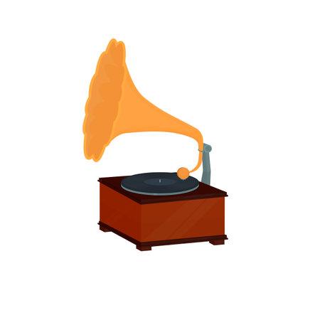 Gramophone. Record player, vector illustration