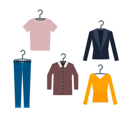 Clothes on a clothes rack, vector illustration Ilustrace