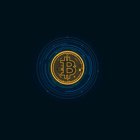 Bitcoin sign. Digital cryptocurrency, vector illustration