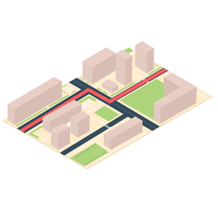 Route on the map diagram. Location, vector illustration