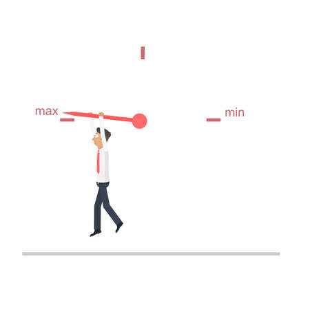 Businessman manages the workflow. Indicator, vector illustration