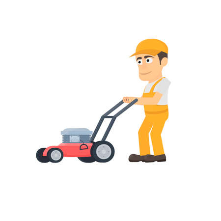 Worker with a lawn mower. Gardener, vector illustration