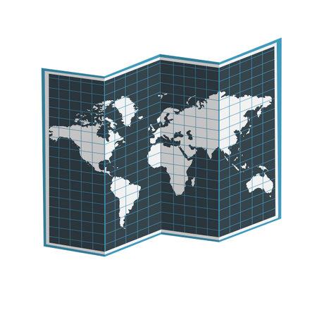 Cartography. Open world map, vector illustration