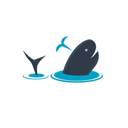 Whale. A whale emerges from the water, vector illustration