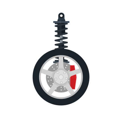 Car shock absorber. Auto parts vector illustration
