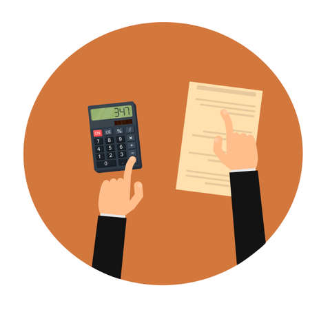Accounting. Read the report on the calculator. Audit, vector illustration Ilustrace