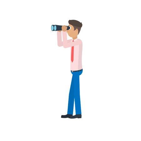 Man with binoculars. Look through binoculars, vector illustration