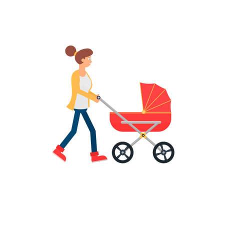 Motherhood. Mom with a stroller, vector illustration