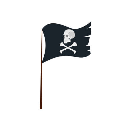 Pirate flag. Flag with a skull and bones, vector illustration