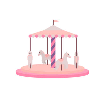 Carousel with horses. Carousel attraction, vector illustration