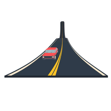Car driving on the highway, vector illustration
