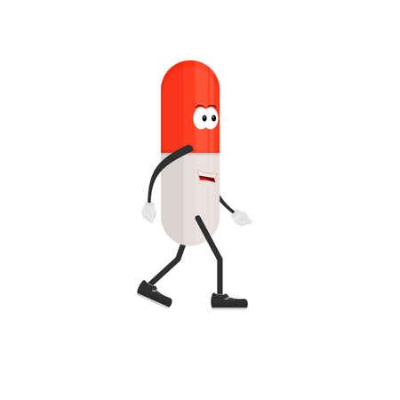 Antibiotic. Cartoon character pill, vector illustration