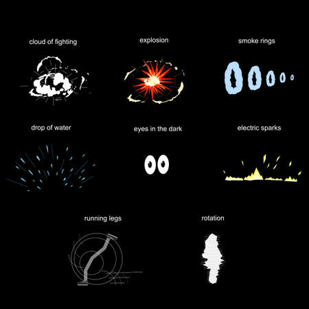 Comic elements. Set of cartoon effects, vector illustration