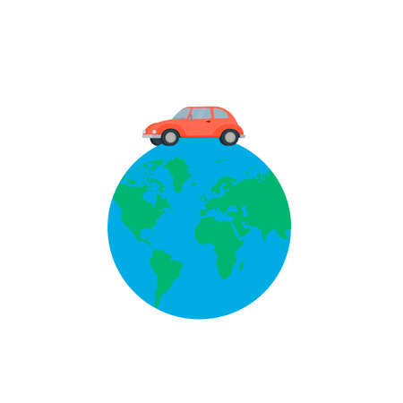 Car rides on the planet earth, vector illustration