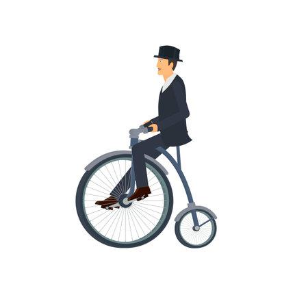 Cyclist. Vintage bicycle, vector illustration