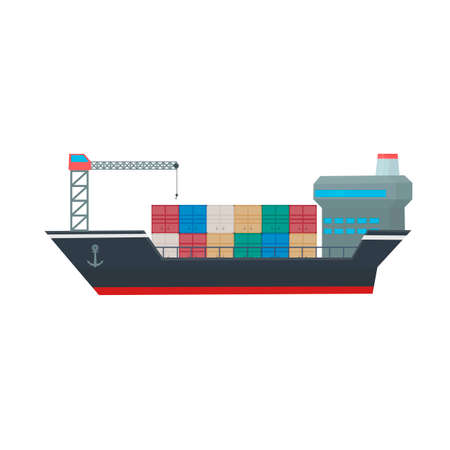 Container ship. Transport ship, vector illustration