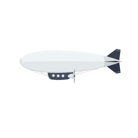 Airship is in flight. Aircraft, vector illustration