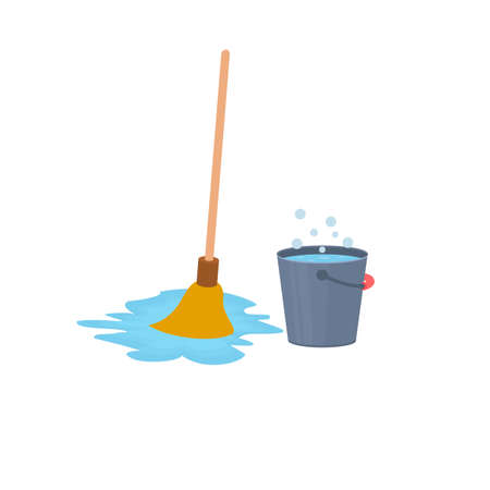 Cleaning. Washing bucket and mop, vector illustration