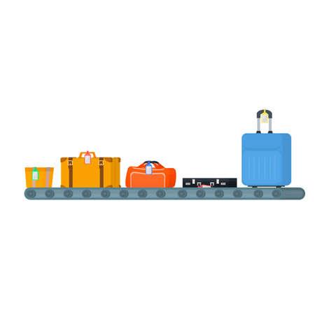 Luggage on a conveyor belt, vector illustration