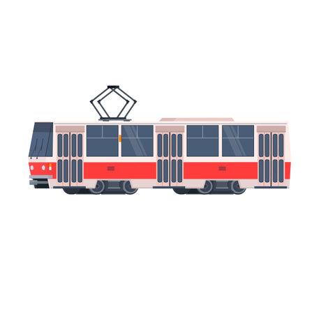Tram. Electric transport, vector illustration