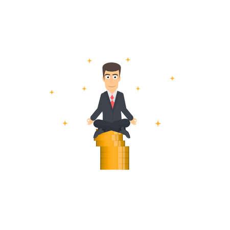 Businessman. Meditation on gold coins, vector illustration