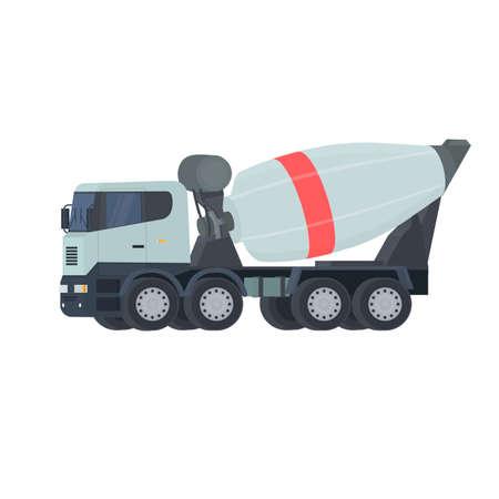 Concrete mixer truck. Construction equipment, vector illustration Ilustrace