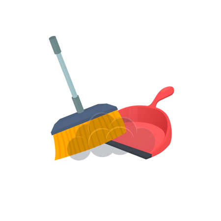 Broom and dustpan. Cleaning, vector illustration Ilustrace