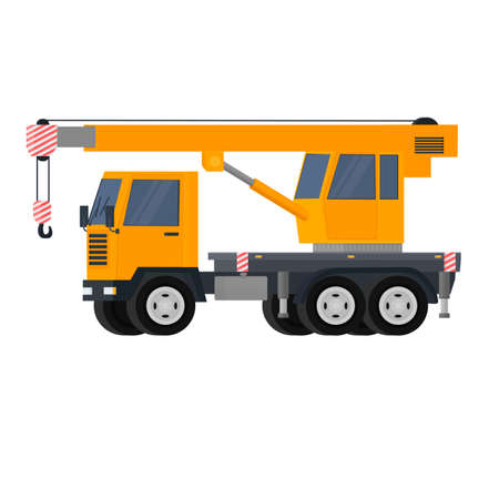 Truck with a crane. Construction equipment, vector illustration