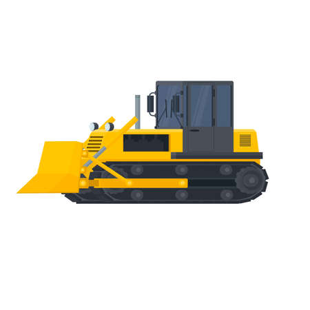 Bulldozer. Crawler tractor, vector illustration Ilustrace