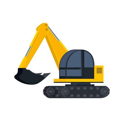 Excavator. Construction equipment, vector illustration