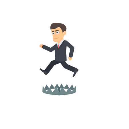 Businessman. Jump through a trap, vector illustration