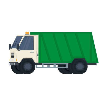 Garbage truck. Special transport, vector illustration