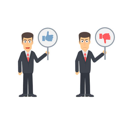 Businessman with a sign in his hands. Like and dislike, vector illustration Ilustrace