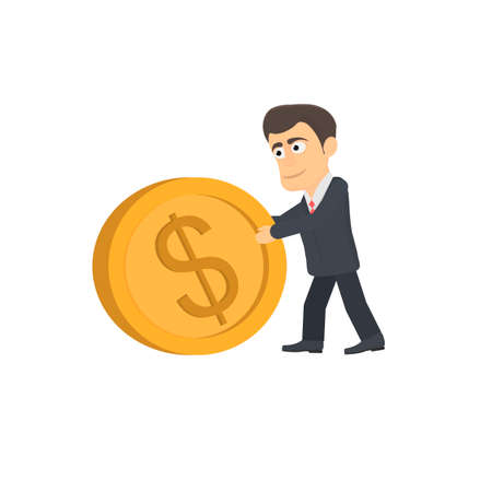 Businessman moves a gold coin, vector illustration Ilustrace