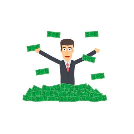 Businessman throws money, vector illustration