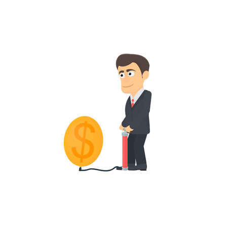 Businessman inflates a balloon. Economic bubble, vector illustration