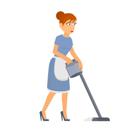 Cleaning lady. A woman with a vacuum cleaner, vector illustration Ilustrace