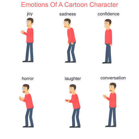 Emotions of a cartoon character, vector illustration