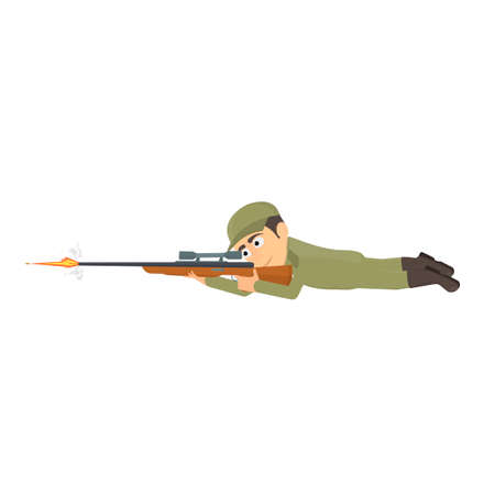 Sniper. A soldier shoots a rifle, vector illustration