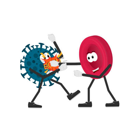 Immunity. The fight against the virus. Antibodies, vector illustration