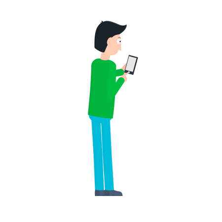 Man with a smartphone. Launch the app on your phone, vector illustration