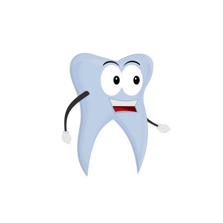 Tooth cartoon character, vector illustration